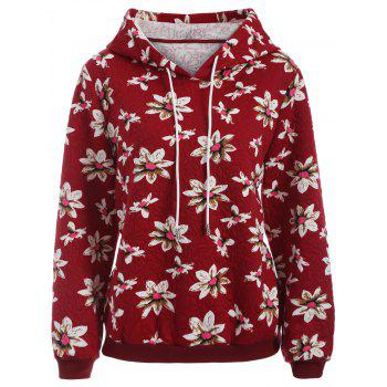 Casual Floral Print Plus Size Drawstring Hoodie
