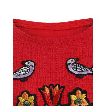 Flower and Bird Embroidery Heart Sequins Gingham Sweatshirt - RED 4XL