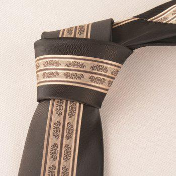Stripe Paisley Polyester Narrow Neck Tie - KHAKI