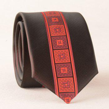Geometry Plaid Skinny Polyester Neck Tie - RED RED
