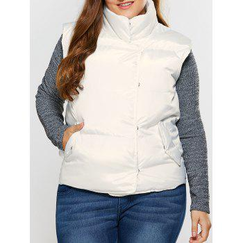 Button Up Stand Collar Padded Vest