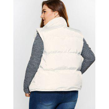 Button Up Stand Collar Padded Vest - WHITE 2XL