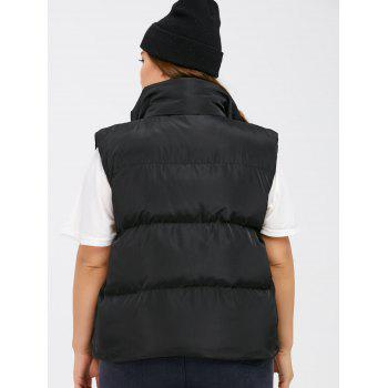 Button Up Stand Collar Padded Vest - BLACK 2XL