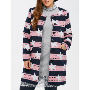 Plus Size Woolen Striped Star Pattern Coat