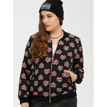 Zipped Heart Print Bomber Jacket - BLACK 3XL