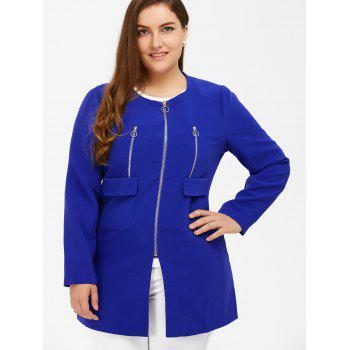 Plus Size Zipper Design Flap Pockets Coat - BLUE 2XL