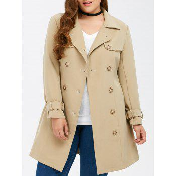 Plus Size Belted Double Breasted Trench Coat