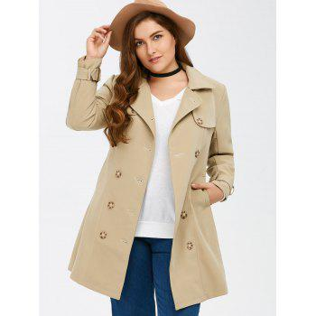 Plus Size Belted Double Breasted Long Trench Coat - LIGHT KHAKI 4XL
