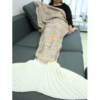 Handmade Crochet Rhombus Design Sleeping Bag Mermaid Blanket - BEIGE