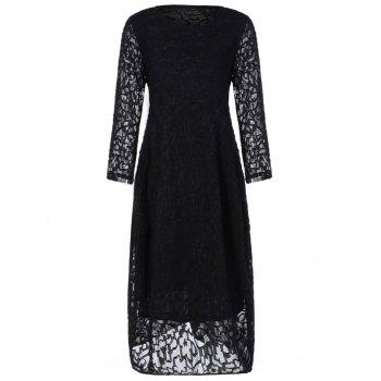 Plus Size Midi Lace Formal Party Dress