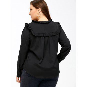 Plus Size Bow Tie Ruffed Blouse - BLACK 4XL