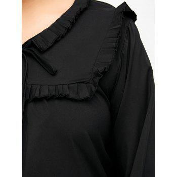 Plus Size Bow Tie Ruffed Blouse - BLACK 3XL