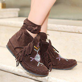 Fringe Vintage Embroidery Ankle Boots