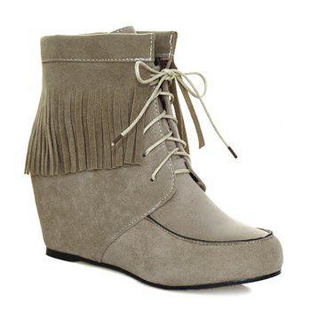 Tie Up Fringe Short Boots