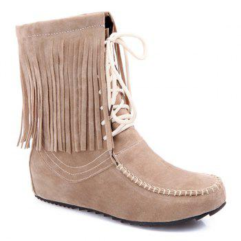 Tie Up Stitching Fringe Short Boots
