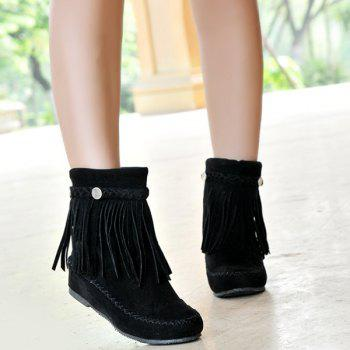 Stitching  Weave Fringe Ankle Boots