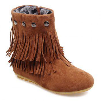 Zipper Metal Layer Fringe Ankle Boots