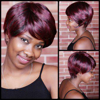 Spiffy Neat Bang Double Color Short Straight Synthetic Wig