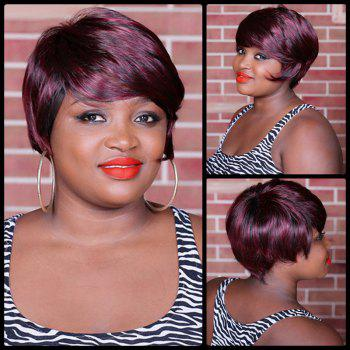 Spiffy Full Bang Double Color Short Straight Synthetic Wig