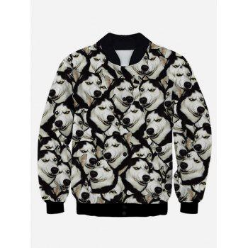 Stand Collar 3D Animal Print Snap Front Jacket