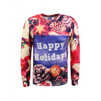 Buy 3D Printing Long Sleeve Christmas Graphic Sweatshirt COLORMIX