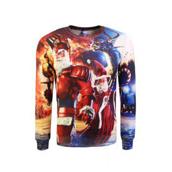 Buy Printed Crew Neck Pullover Christmas Sweatshirt COLORMIX