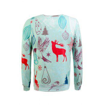 Crew Neck Snowflake Christmas Sweatshirt - TIFFANY BLUE TIFFANY BLUE