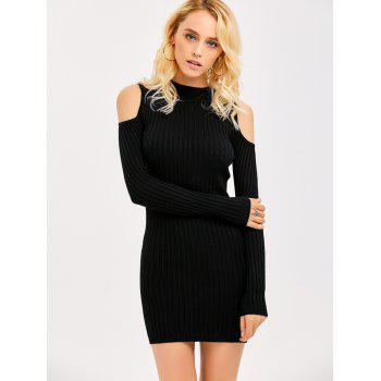 Ribbed Cold Shoulder Long Sleeve Bodycon Dress - M M