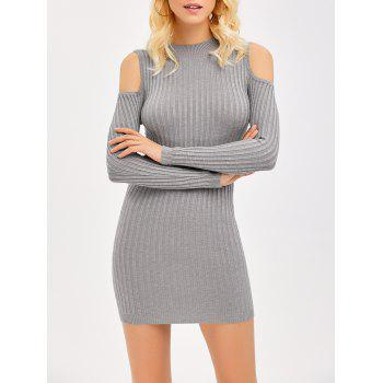 Ribbed Cold Shoulder Long Sleeve Bodycon Dress - GRAY GRAY