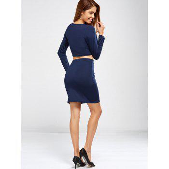 V Neck Crop Top and Bodycon Skirt - S S