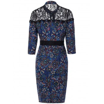 Lace Insert Floral Print Vintage Dress - M M