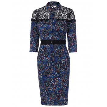 Lace Insert Floral Print Vintage Dress - BLUE M