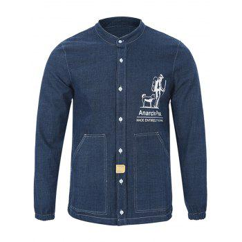 Grandad Collar Long Sleeve Printed Pocket Shirt - DEEP BLUE L