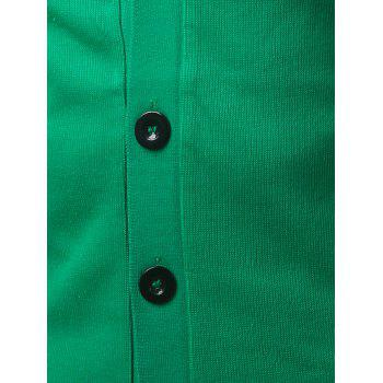 Slim Fit V Neck Button Up Cardigan - GREEN GREEN