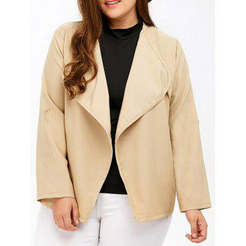 Plus Size Pocket Design Open Front Jacket - LIGHT KHAKI LIGHT KHAKI