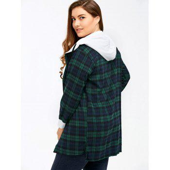 Plus Size Hooded Plaid Long Flannel Shirt - GREEN 2XL
