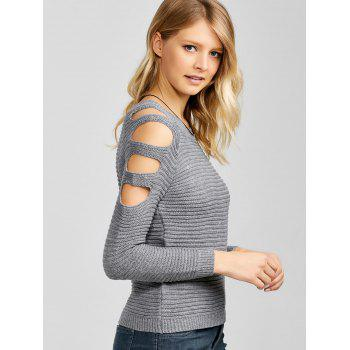 Slim Knit Hollow Out Sweater - GRAY GRAY