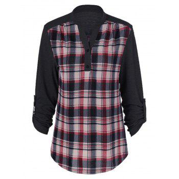 Plaid Patchwork Adjustable Sleeve T-Shirt - BLACK BLACK