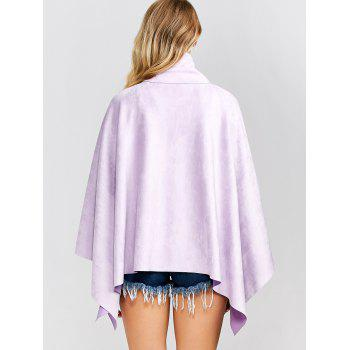 Warm Irregular Hem Poncho - LIGHT PURPLE ONE SIZE