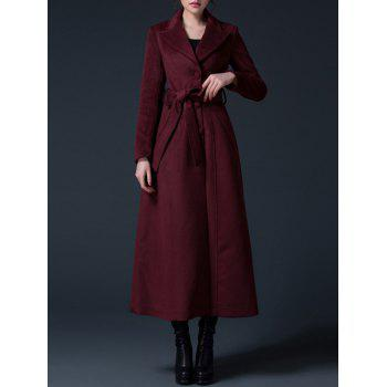 Buy Lapel Wool Long Skirted Coat WINE RED