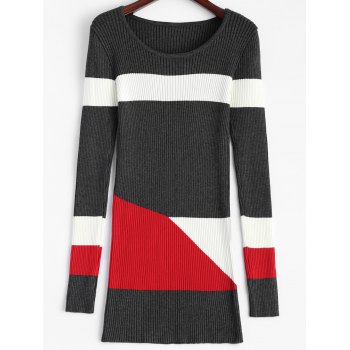 Color Block Fitted  Long Knitted Sweater