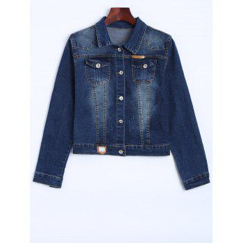 Pocket Patched Cropped Denim Jacket