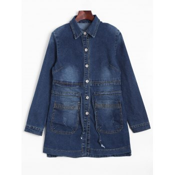 Faded Drawstring Long Jean Jacket