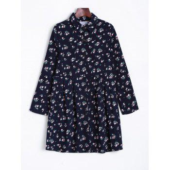 Tiny Floral Long Sleeve Shirt Dress