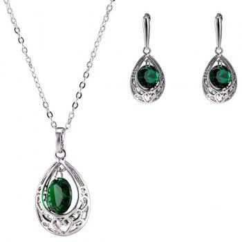 Faux Emerald Teardrop Jewelry Set