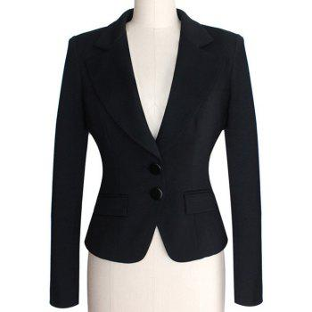 Two Buckle Slim Fit Short Peplum Blazer