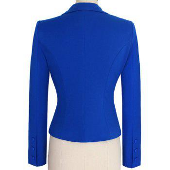 Two Buckle Slim Fit Short Peplum Blazer - BLUE BLUE