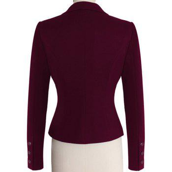 Two Buckle Slim Fit Short Peplum Blazer - PURPLISH RED PURPLISH RED