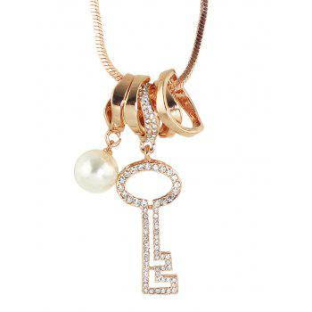 Rhinestone Key Faux Pearl Sweater Chain