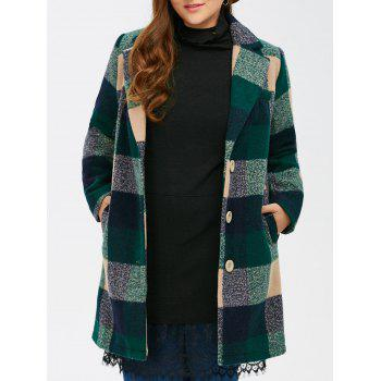 Woolen Single Breasted Tartan Plaid Coat